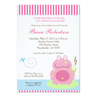Fiona the Pond Frog Baby Shower 5x7 Invitation