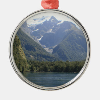Fiordland National Park, New Zealand Round Metal Christmas Ornament