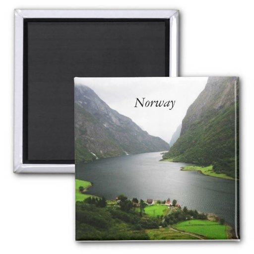 Fiordo de Noruega Imán Cuadrado