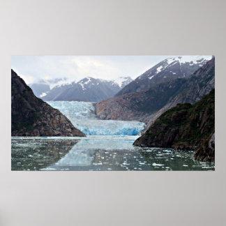 Fiordo del brazo de Tracy y glaciar del aserrador Poster