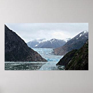 Fiordo del brazo de Tracy y glaciar del aserrador Póster