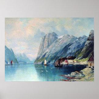 Fiordo en la pintura de Noruega por el lev Lagorio Póster