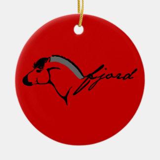 Fiordo noruego adorno navideño redondo de cerámica