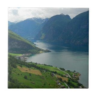 Fiordo noruego azulejo cuadrado pequeño
