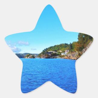 Fiordos noruegos calcomanías forma de estrellaes