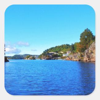 Fiordos noruegos pegatina cuadradas personalizadas