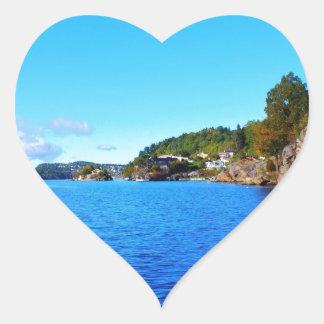 Fiordos noruegos colcomanias de corazon personalizadas