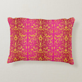 Fiore in Fuschia and Yellow Accent Pillow