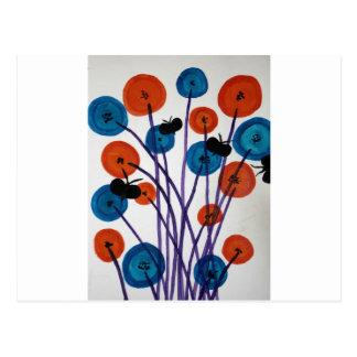 Fiore pulsante con le farfalle postcard
