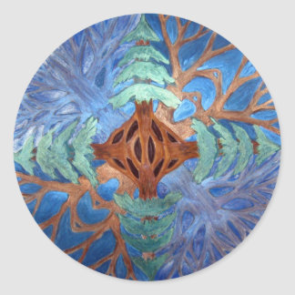 Fir and Deciduous Tree Mandala, watercolor pencil Classic Round Sticker