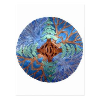 Fir and Deciduous Tree Mandala, watercolor pencil Postcard
