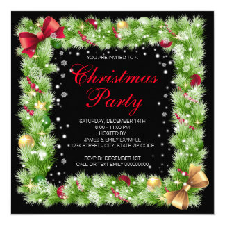 Fir Bough Ornament Snowflake Christmas Party Card