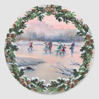 FIR BOUGHS, CONES & SKATERS by SHARON SHARPE Classic Round Sticker