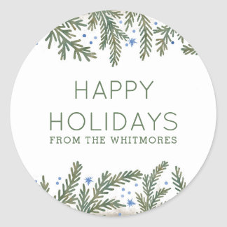 Fir Branches Happy Holidays Classic Round Sticker