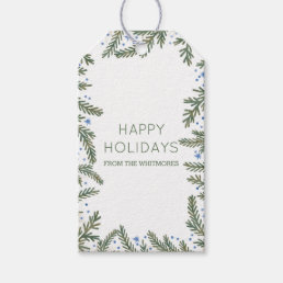 Fir Branches Happy Holidays Gift Tags