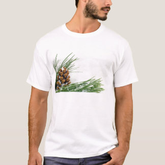 Fir Cone and Branch with Snow Flakes Men's T-Shirt