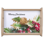Fir cone and holly serving tray