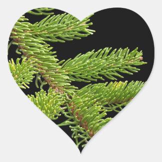 Fir tree barnch heart sticker