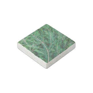 Fir tree branch stone magnet