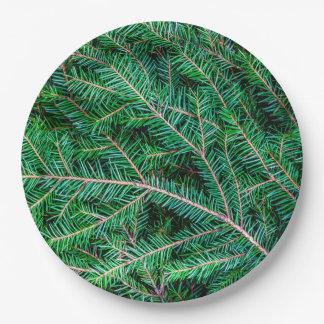 Fir tree branch paper plate