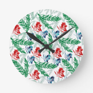 Fir Tree Branches with Berries Round Clock
