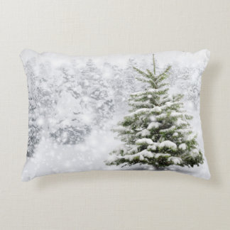 Fir Tree In Thick Snow Accent Pillow