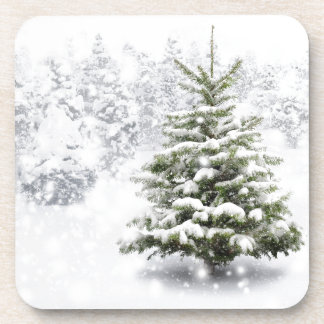 Fir Tree In Thick Snow Beverage Coaster