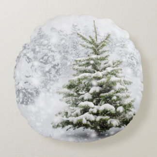 Fir Tree In Thick Snow Round Pillow
