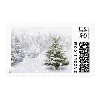 Fir Tree In Thick Snow Postage