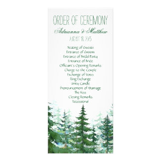 Fir Tree Wedding Order of Ceremony Rack Card