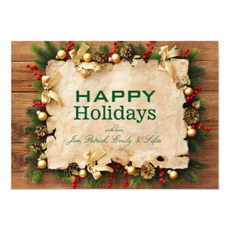 Fir tree with paper and holiday decorations 5x7 paper invitation card