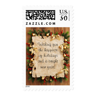 Fir tree with paper and holiday decorations postage