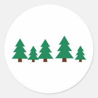 Fir trees classic round sticker