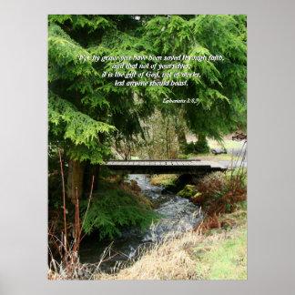 Fir Trees Stream Bridge Ephesians 2 8 9 Print