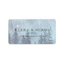 Fir Trees Winter Wedding Menu Blue ID543 Label
