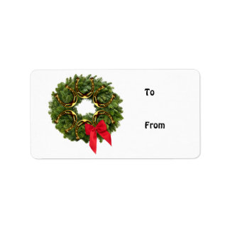 Fir Wreath with Gold Horseshoes & Red Bow Address Label