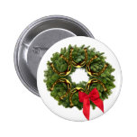 Fir Wreath with Gold Horseshoes & Red Bow Pinback Button