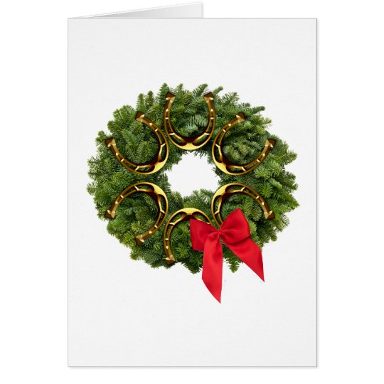 Fir Wreath with Gold Horseshoes & Red Bow Card