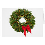 Fir Wreath with Gold Horseshoes & Red Bow Greeting Cards