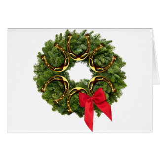 Fir Wreath with Gold Horseshoes Red Bow Greeting Cards