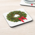 Fir Wreath with Gold Horseshoes & Red Bow Beverage Coasters