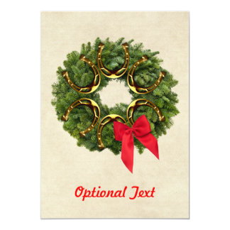 Fir Wreath with Gold Horseshoes & Red Bow Custom Card