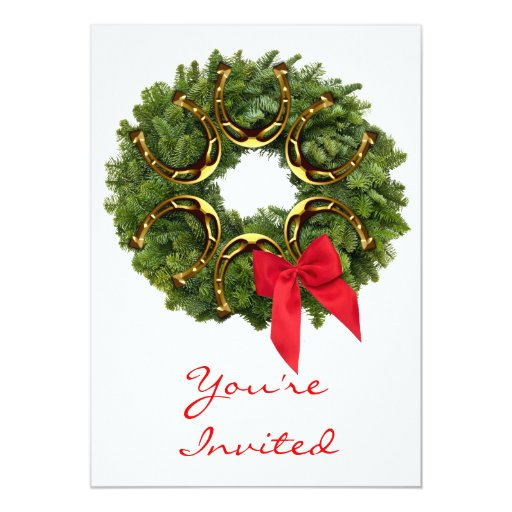 Fir Wreath with Gold Horseshoes & Red Bow Custom Invitations