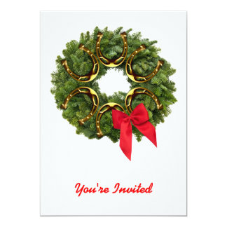 Fir Wreath with Gold Horseshoes & Red Bow Invited Card