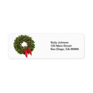 Fir Wreath with Gold Horseshoes Red Bow Return Address Labels