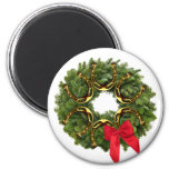 Fir Wreath with Gold Horseshoes & Red Bow Fridge Magnet