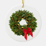 Fir Wreath with Gold Horseshoes & Red Bow Christmas Tree Ornament