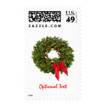 Fir Wreath with Gold Horseshoes & Red Bow Postage