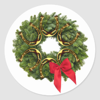 Fir Wreath with Gold Horseshoes & Red Bow Stickers