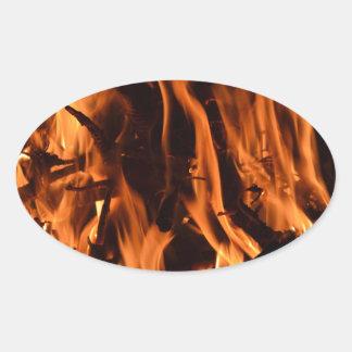 fire-432478 fire wood forest nature orange black b oval sticker